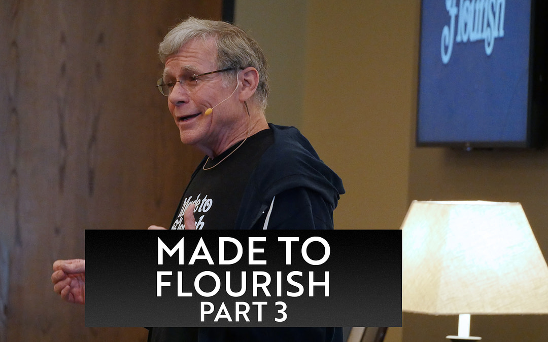 """Pete Stansbury preaching his message called Know the Flow. A wooden door and beige wall are his backdrop. The words """"Made to Flourish, Part 3"""" are on the bottom third of the image."""
